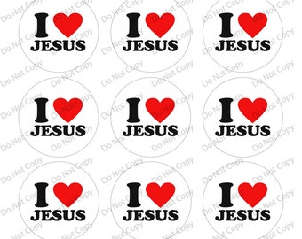 INSTANT digital Download I love Jesus 1-inch Round Bottle Cap Images 4 x 6 in Digital Sheet, 1 inch circles, rounds, 1 inch digital images