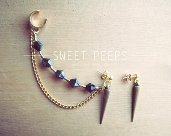 Gold Ear Cuff with Gold Spike and String of Beautiful Dark Blue and Gold Crystals and BONUS Spiked Stud