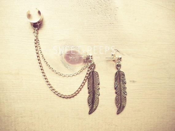 Gold Feather Ear Cuff Set