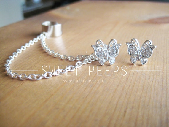 Butterfly Rhinestone Stud Ear Cuff with Silver Chainmaille