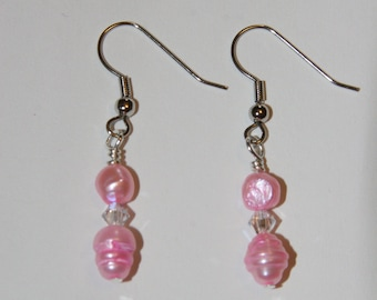 Rose Crystal Cubic Zirconia Earrings
