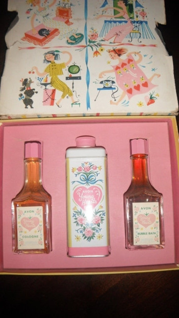 1950s Avon Young Heart Set Unused Cologne Bubble Bath And