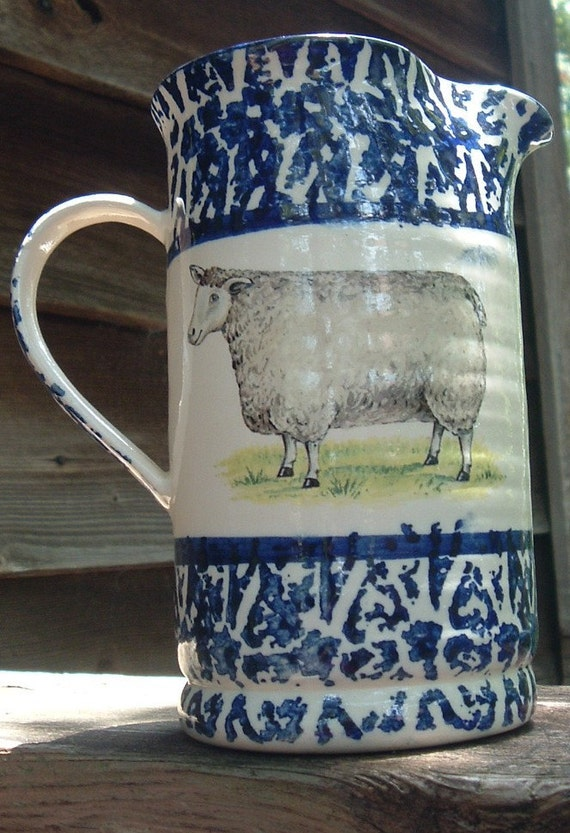 Tranquilline Pottery Pitcher With Sheep And Pig Motif Blue