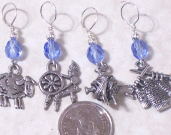 sheep to shawl no snag knitting stitch markers, sheep,yarn,spinning wheel,4, gold silver pewter charms