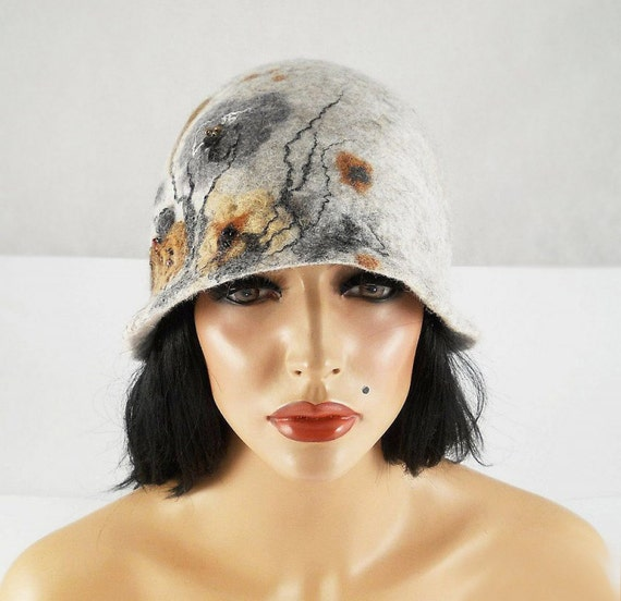 Felted Hat Cloche Hat grey Flapper Hat gray wool hat art deco noir wearable art wool felt nunofelt nuno felt silk eco fiber art