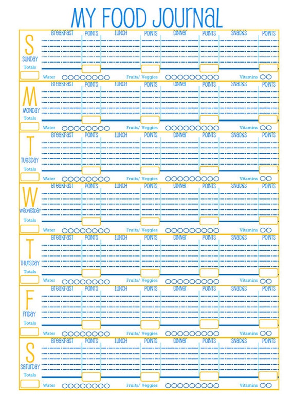 ... Food Journal-Weight Watchers Food Journal-PDF Printable Food Log on