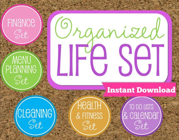INSTANT DOWNLOAD Organized Life Printables- Home Management  Binder-95 Documents GREAT Savings