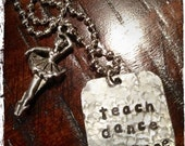 teach dance inspire Hand Stamped Ballerina Dance Teacher Necklace with Ballet Dancer Charm Hand Crafted Metal Jewelry  - Great Gifts for Dance Teachers - Etsy Finds