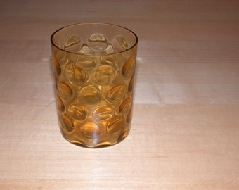 ON SALE  Amber Vintage Glass with Bullseye Circles