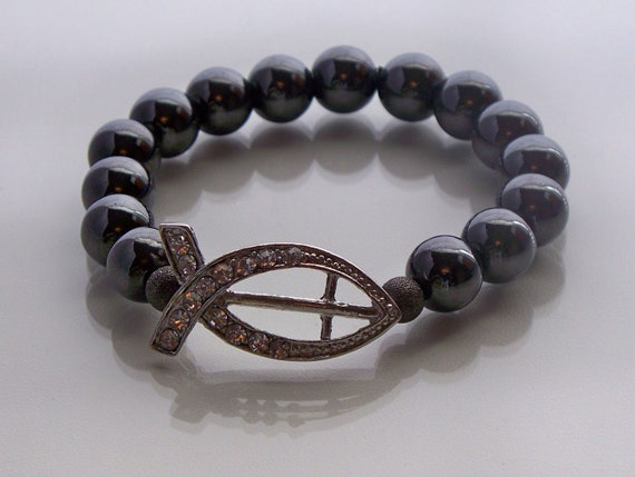 Hematite Beaded Bracelet with Fish Symbol & Cross