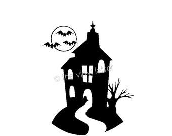 Haunted House Bats Moon Halloween Vinyl Wall Window Decal