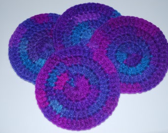 Crochet Coasters - Set of 4 - Grape Fizz