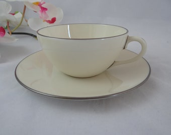 Vintage Lenox Olympia Platinum Trim Teacup and Saucer American Tea Cup