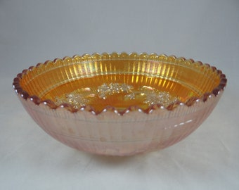 1920s Vintage Imperial Glass Co Windmill Pattern Carnival Glass Bowl