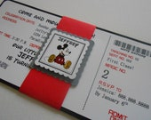 Custom Order for (Shawn Sortijas), 30- Vintage Mickey Mouse Inspired Ticket, Handmade Invitation