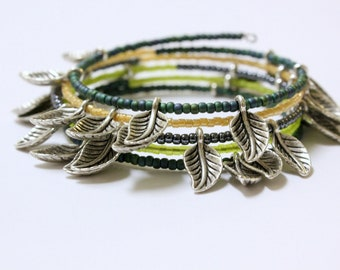 Bohemian Gypsy Silver Beaded Bracelets Handmade Leaves Toho Beads Wrap Around Stacking dainty boho Tribal Fall Soho