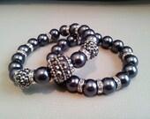 Smokey Black Pave Crystal Bracelet 2Pc Set