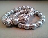 Silver Pave Crystal Bracelet 2 Pc Set