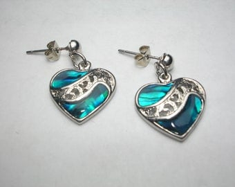 Paua Shell Heart Silver Tone Earrings