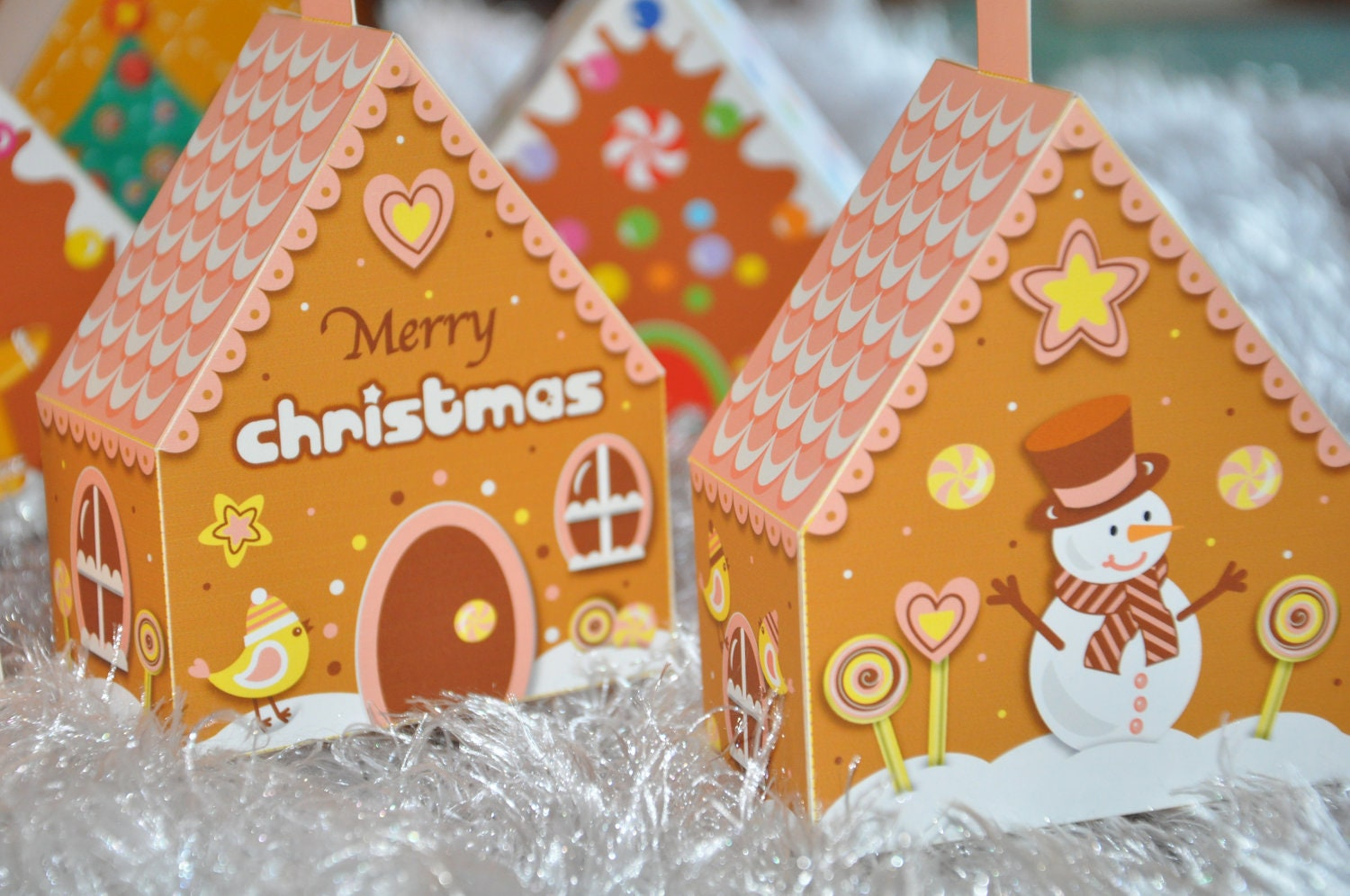 christmas holiday gingerbread house 3d tree ornaments mini. Black Bedroom Furniture Sets. Home Design Ideas