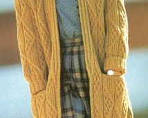 Long Chunky Stlye knitted Cardigan Pattern PDF No.0290  From TImelessOne Shop