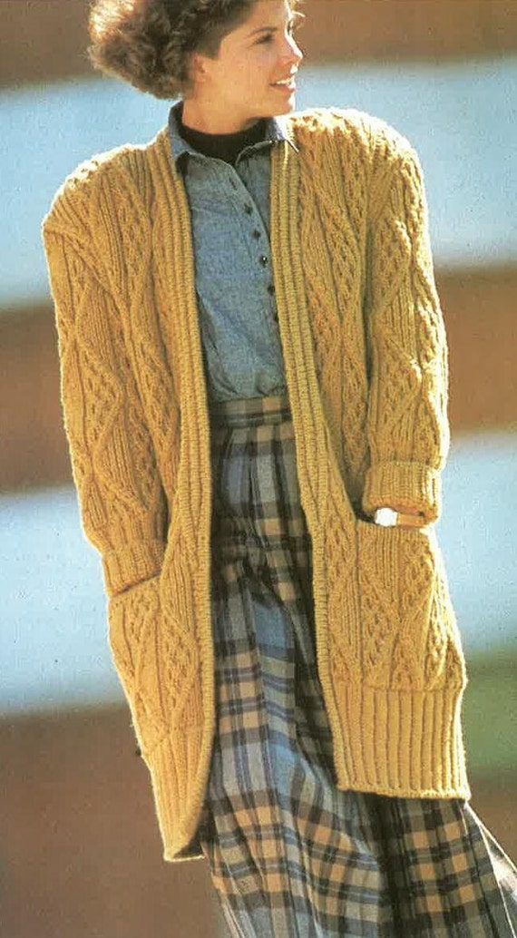 Knitting Pattern For A Long Cardigan : Long Chunky Stlye knitted Cardigan Pattern PDF No.0290 From