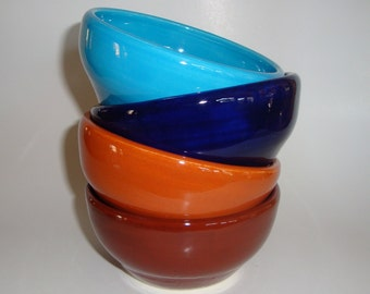 Four Plain Jane Glossy Pottery Bowls in Blues and Browns