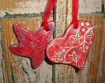 Star or Heart Ornament -Stamped Pottery in Red and German Silver Gilders Paste