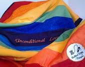 Rainbow Patchwork Quilt - Unconditional Love Quilt -Embroidered Quilt