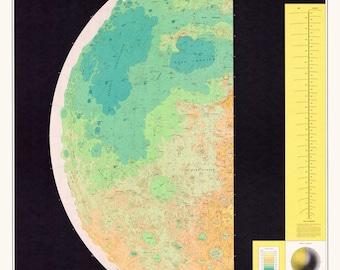 Astronomy print, Moon, Moon map, 101