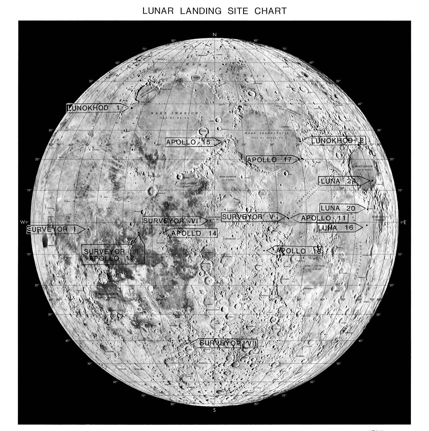 Moon Moon Map Astronomy Print 98