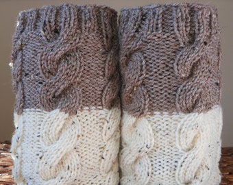 SALE Hand Knitted Boot Cuffs Leg Warmers 2in1 Cream and Beige Tweed