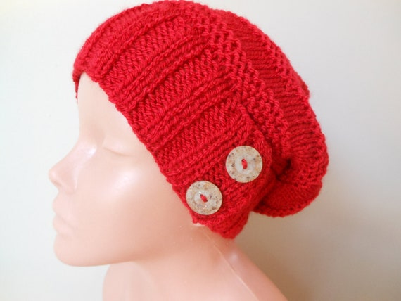 Hand Knit Slouchy Beanie Hat Acrylic Red Color