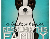 A Boston Terrier Rescued This Family 11x14 - Custom Dog Print - Personalize with Your Dog's Name