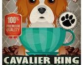 Cavalier King Charles Coffee Bean Company Original Art Print - Custom Dog Breed Art - 11x14