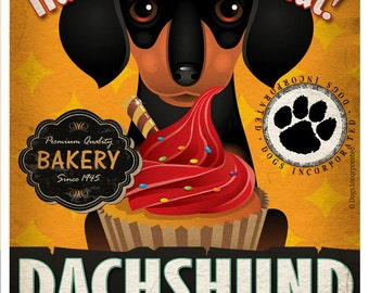 Dachshund Cupcake Company Original Art Print - Custom Dog Breed Art - 11x14 - Personalize with Your Dog's Name - Dogs Incorporated