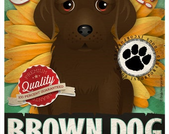 Dogs and Flowers Art Print - Brown Dog Art Poster 11 x 14