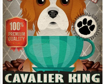 Cavalier King Charles Coffee Bean Company Original Art Print - Custom Dog Breed Art - 11x14