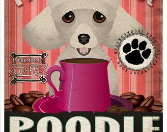 Poodle Coffee Bean Company Original Art Print - Custom Dog Breed Print -11x14-Customize with Your Dog's Name