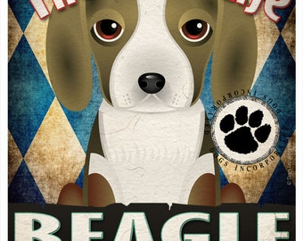 Beagle Pampered Pups Original Art Print - 11x14 - Dog Poster - Dogs Incorporated