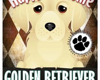 Golden Retriever Pampered Pups Original Art Print - 11x14 - Dog Poster - Dogs Incorporated
