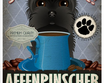 Affenpinscher Coffee Bean Company Original Art Print - Custom Dog Breed Art - 11x14