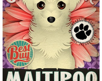 Dogs and Flowers Art Print - Maltipoo Art Poster 11 x 14