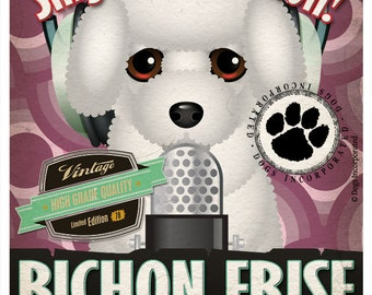 Bichon Frise Recording Studio Original Art Print - Custom Dog Breed Print - 11x14 - Personalize with Your Dog's Name