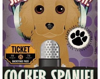 Cocker Spaniel Recording Studio Original Art Print - Custom Dog Breed Poster - 11x14