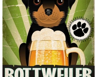 Rottweiler Drinking Dogs Original Art Poster Print - Personalized Dog Wall Art -11x14- Customize with Your Dog's Name - Dogs Incorporated