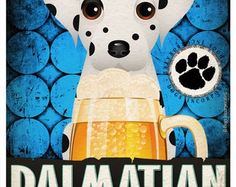 Dalmatian Drinking Dogs Original Art Poster Print - Personalized Dog Wall Art -11x14- Customize with Your Dog's Name - Dogs Incorporated