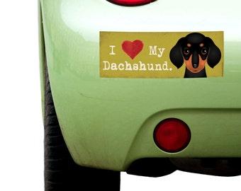 "Dogs Incorporated I Love My Dachshund - I Heart My Dog Bumper Sticker 3""x 8"" Coated Vinyl"
