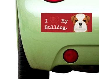 "Dogs Incorporated I Love My Bulldog - I Heart My Dog Bumper Sticker 3""x 8"" Coated Vinyl"