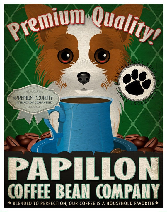Papillon Coffee Bean Company Original Art Print - Custom Dog Breed Art - 11x14 - Personalize with Your Dog's Name - Dogs Incorporated